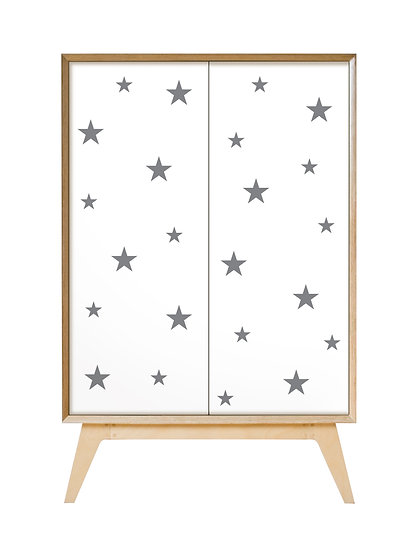 Grey stars on white Cabinet