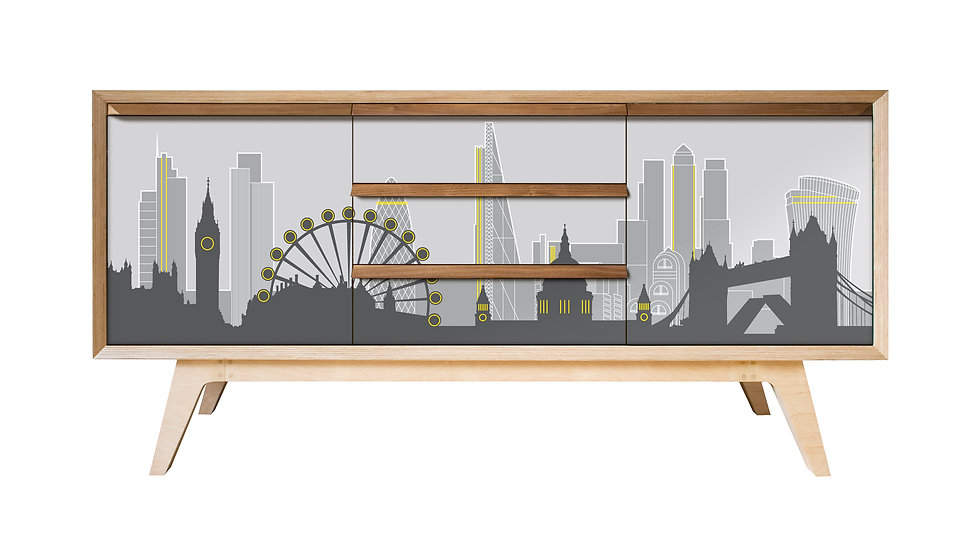 London Skyline Sideboard in grey and yellow