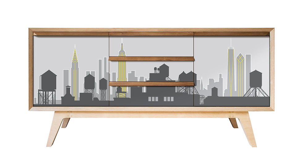 New York Skyline Sideboard in grey and yellow