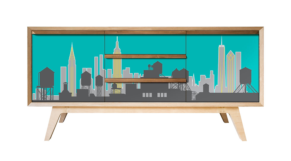 New York Skyline Sideboard in turquoise yellow and grey