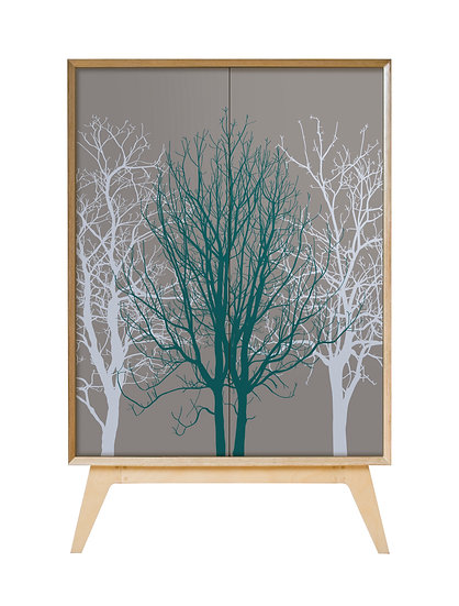 Trees Cabinet in teal on warm grey