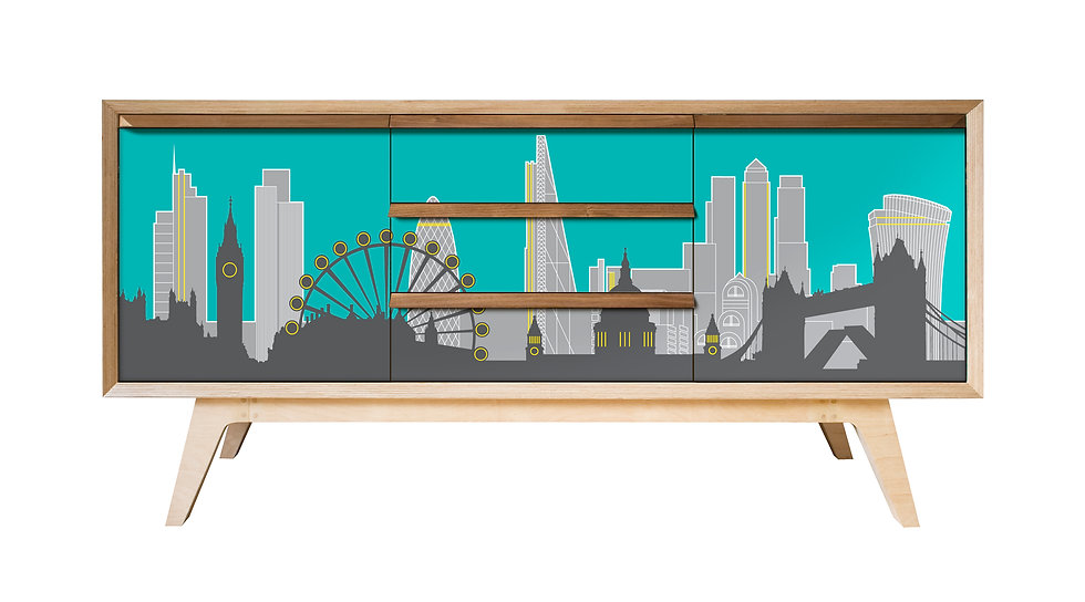 London Skyline Sideboard in turquoise yellow and grey