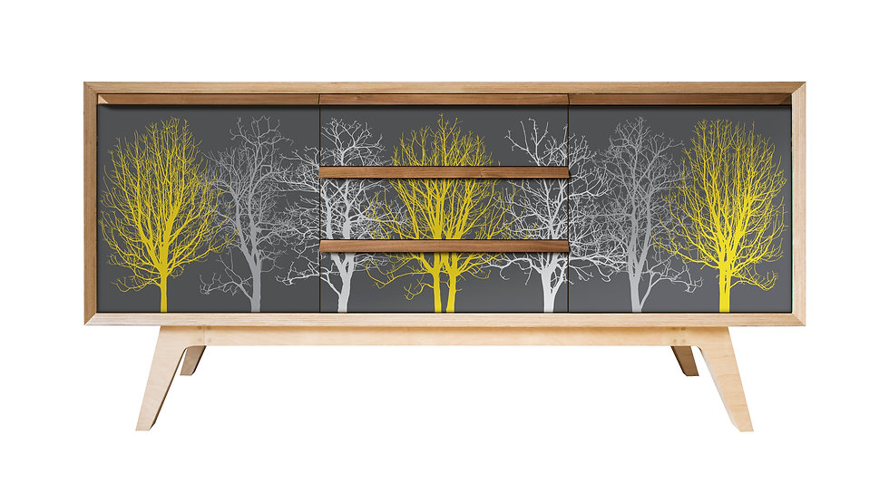 Trees Sideboard in yellow and grey