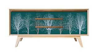 Grey on Teal 'Trees' Sideboard