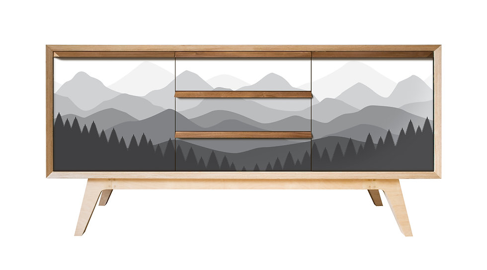 Mountains Sideboard in grey tones