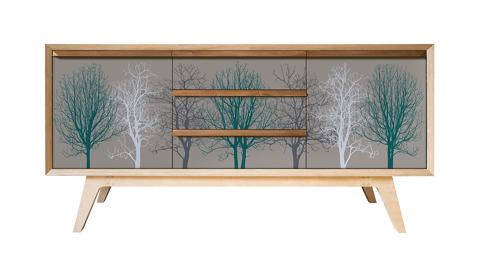 Trees Sideboard in teal on warm grey