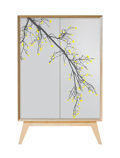 Blossom Cabinet in cool grey with yellow blossom