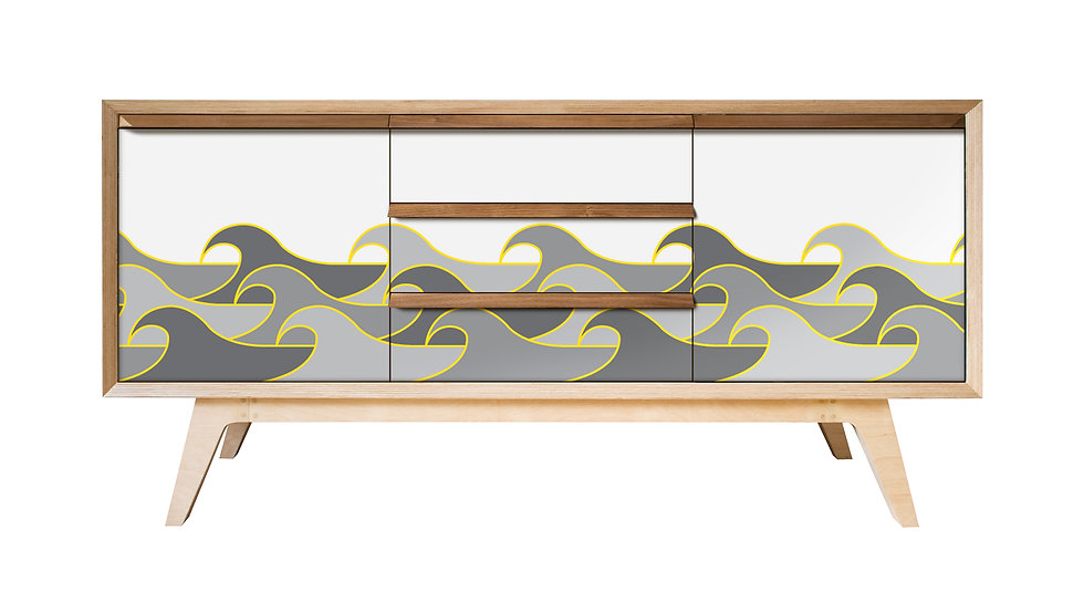 Wave Sideboard in grey tones with yellow highlight
