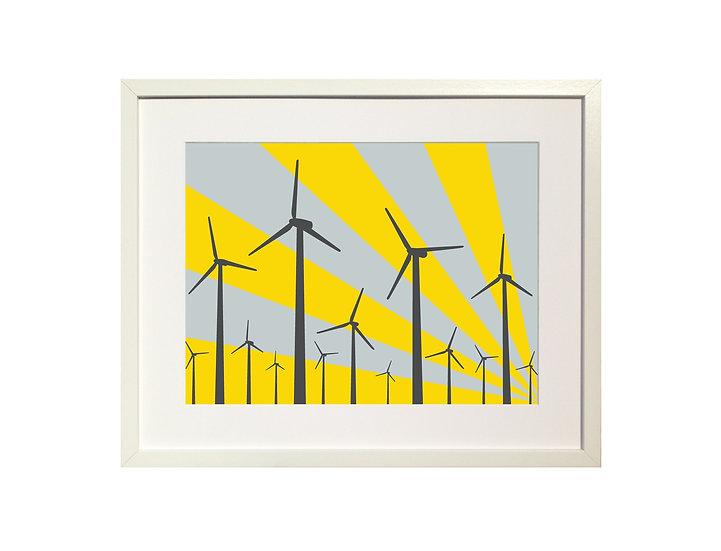 Yellow 'Wind Farm' Limited Edition Print