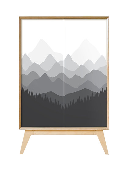 Mountains Cabinet in grey tones