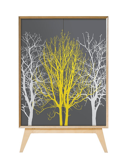 Trees Cabinet in yellow and grey