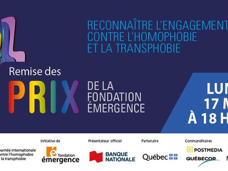 La Fondation Émergence récompense l'engagement contre l'homophobie et la transphobie