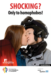 Poster for May 17th International Day Against Homophobia and Transphobia 2003 same sex couple kissing shocking only to homophobes