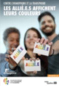 Affiche pour la Journée internationale contre l'homophobie et la transphobie 2016 : Les allié.e.s affichent leurs couleurs