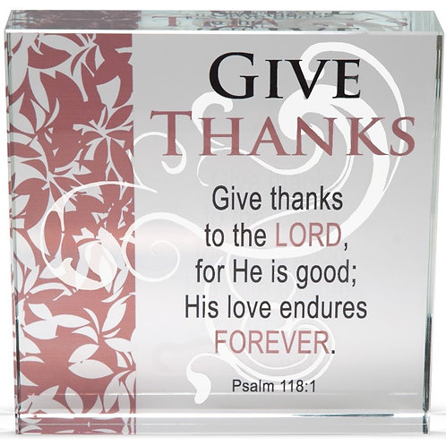 AS006 'Give Thanks' Glass Block