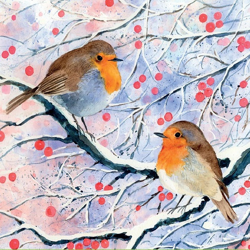 LRC03 Robin & Berries Christmas Cards (10 cards per pack)