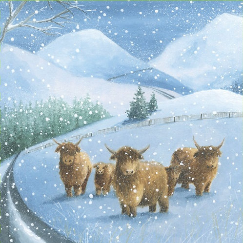 LRC02 Highland Cattle Christmas Cards (10 cards per pack)