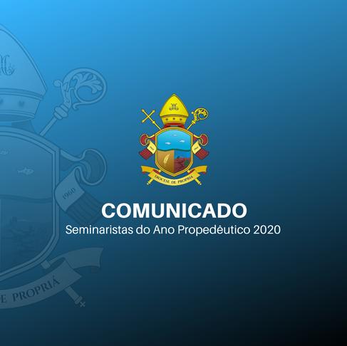 Pastoral Vocacional comunica os seminaristas do Ano Propedêutico 2020