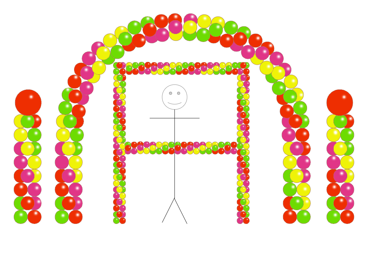 Balloon Party Decor - LimeGreen Yellow Red WildBerry