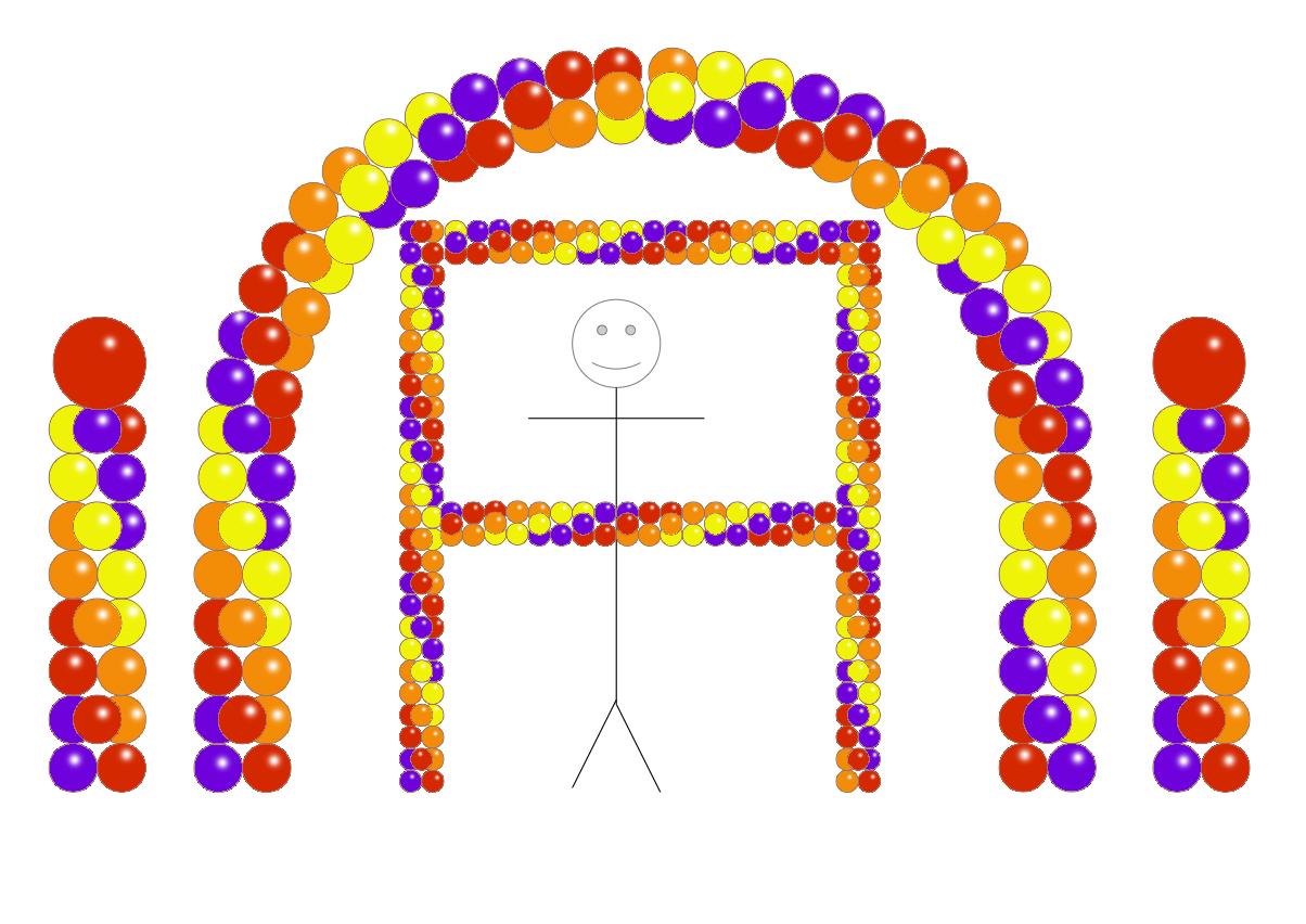 Balloon Party Decor - Purple Red Orange Yellow