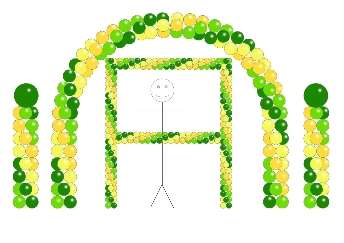 Balloon Party Decor - Green LimeGreen Goldenrod Yellow