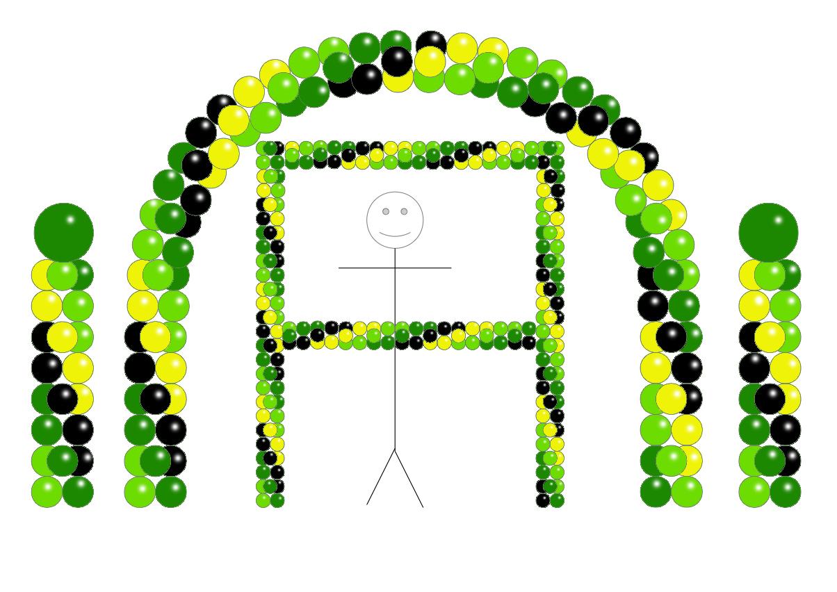 Balloon Party Decor - OnyxBlack Green LimeGreen Yellow