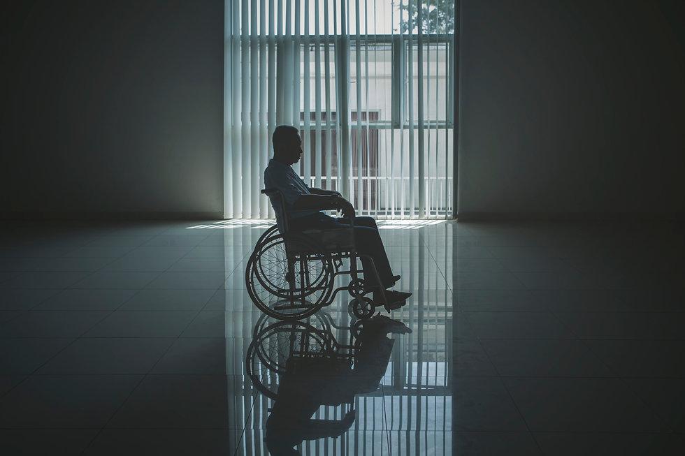 Picture of lonely elderly man looks sad