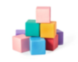 Colourful wooden toy blocks isolated on