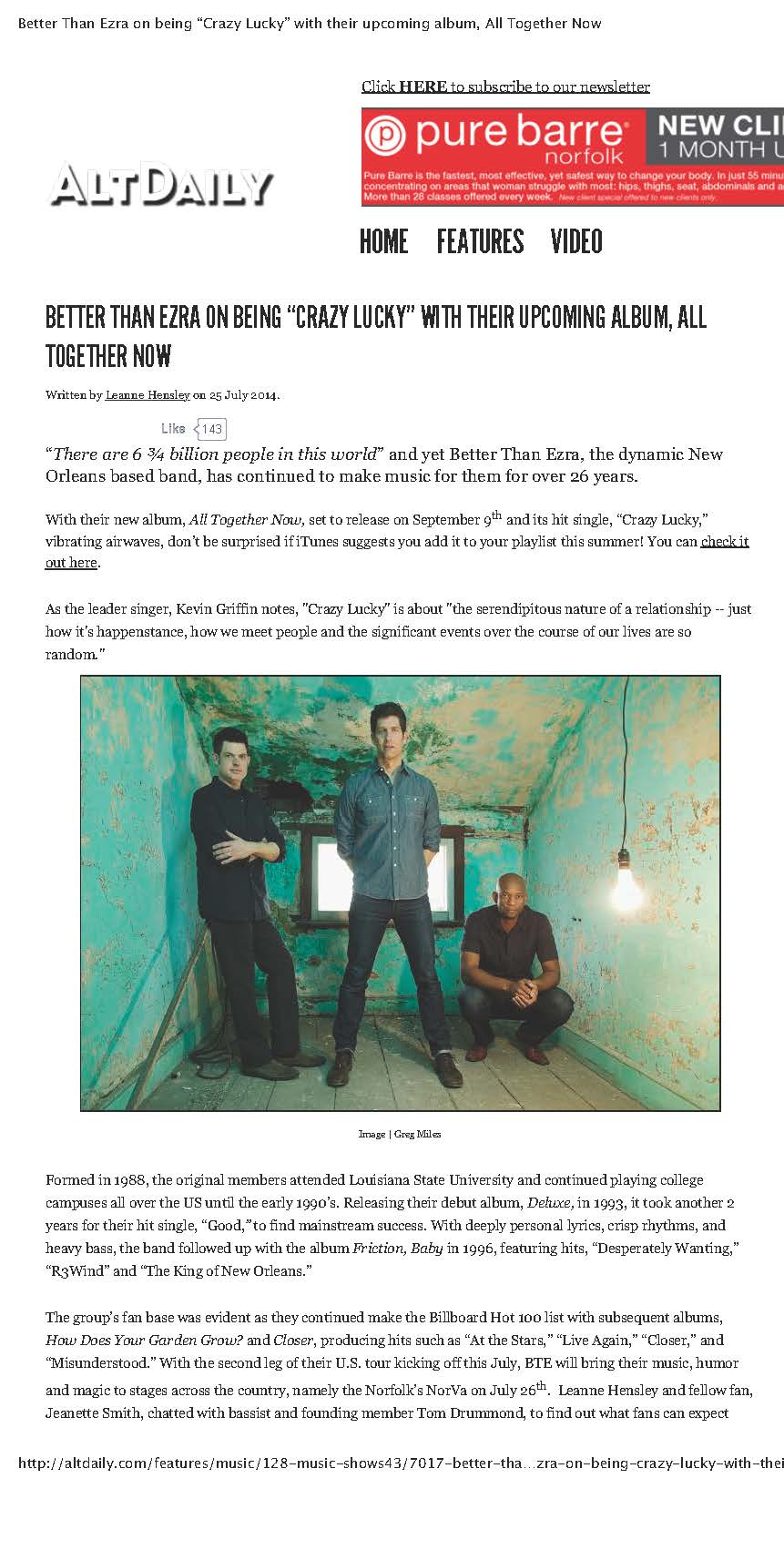 "Better+Than+Ezra+on+being+""Cracoming+album,+All+Together+Now+1"
