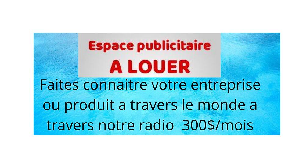 PUBLICITE A LA RADIO 300$/mois