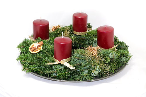 Blatt und Stiel Kranz 35 cm mit Deko (Kerzen rot, weiß oder lila/rosa)