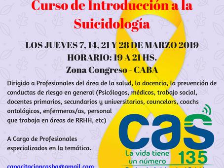 CURSO de INTRODUCCION A LA SUICIDOLOGIA  -  COMIENZA EL 7 DE MARZO DE 2019