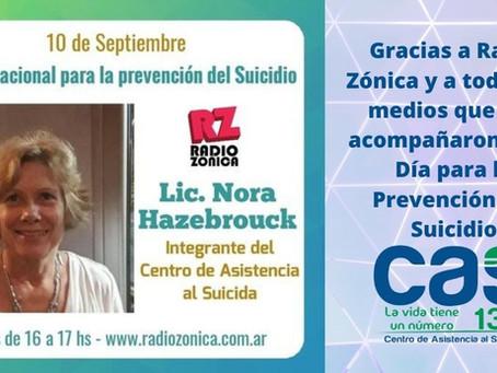 Gracias Radio Zonica por ayudar a concientizar sobre la prevención del suicidio