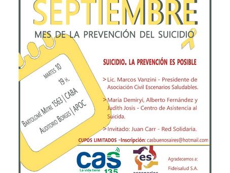 Este martes 10/9 - 19 hs. Nos encontramos por el Día Mundial para la Prevención del Suicidio