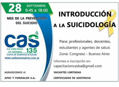 ÚLTIMO AVISO: Curso de Introducción a la Suicidología – Septiembre de 2019