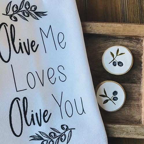 Olive Me Loves Olive You Kitchen Towel