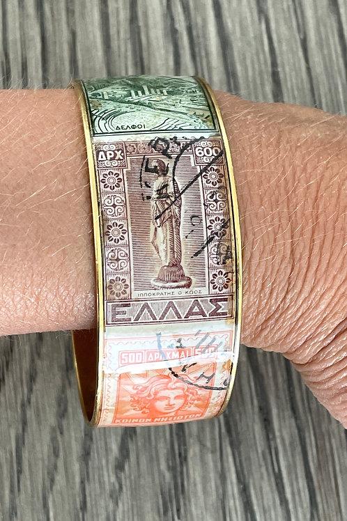 Vintage Greek Postage Stamp Bracelet