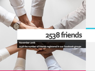 November 2018: 2538 the number of friends registered in our Facebook groups
