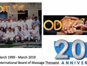 March 1999 - March 2019 Twenty years of International Board of Massage Therapist