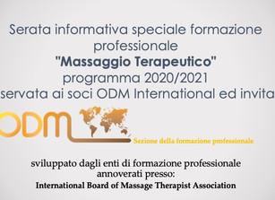 """Serata informativaspeciale formazione professionale """"Massaggio Terapeutico"""" programma 202"""
