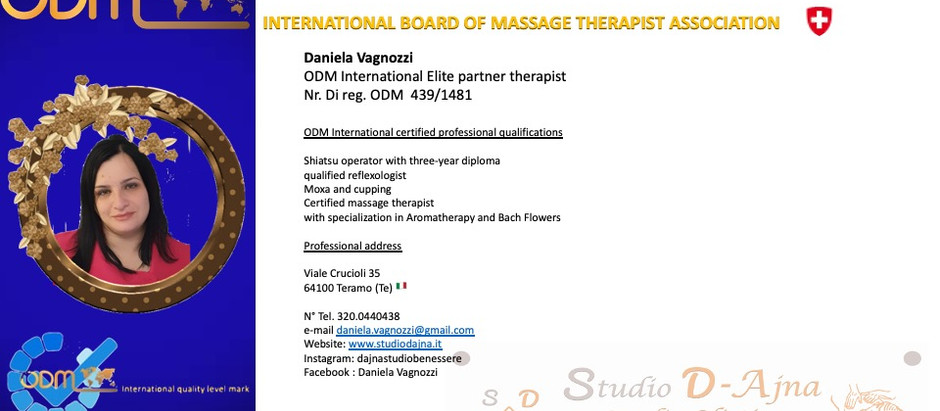 Professional Profile ODM International Plus Daniela Vagnozzi 🇮🇹, updated, Sunday, October 10, 2021
