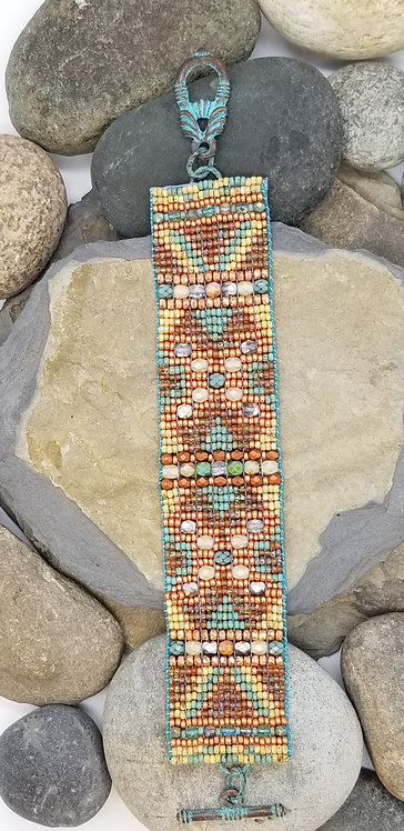 Seafoam and Copper Bracelet