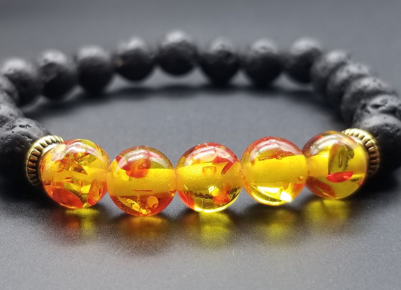 Yellow & Red Lava Stone Bracelet