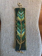 Green Gold Painted Feather Bracelet.JPG