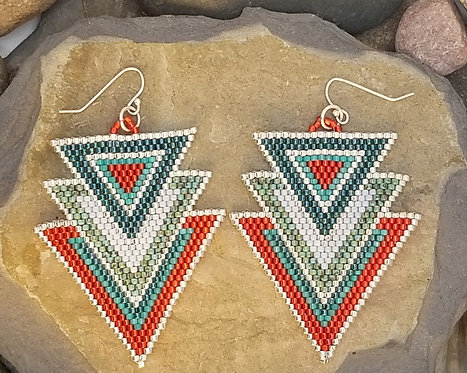 Turquoise/Red Triple Triangles