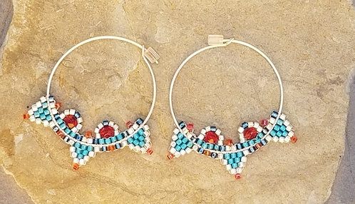 Silver and Turquoise Hoops