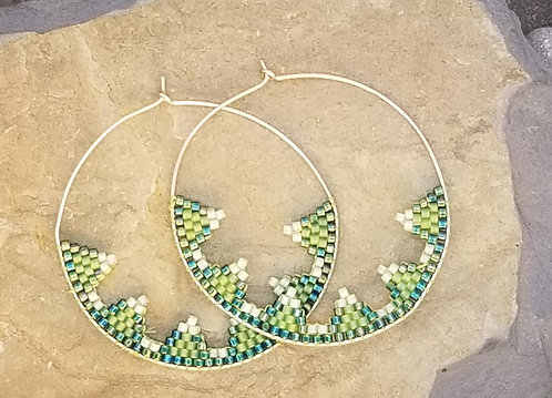 Silver and Green Hoops