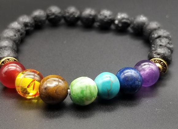 Chakra Lava Stone Bracelet