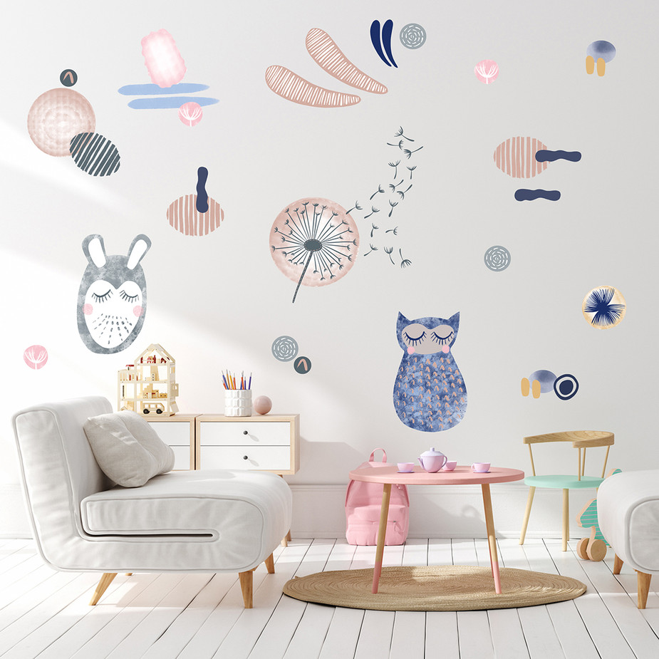 Owl, Bunny, Dandelion and Shapes Wall Decal Set