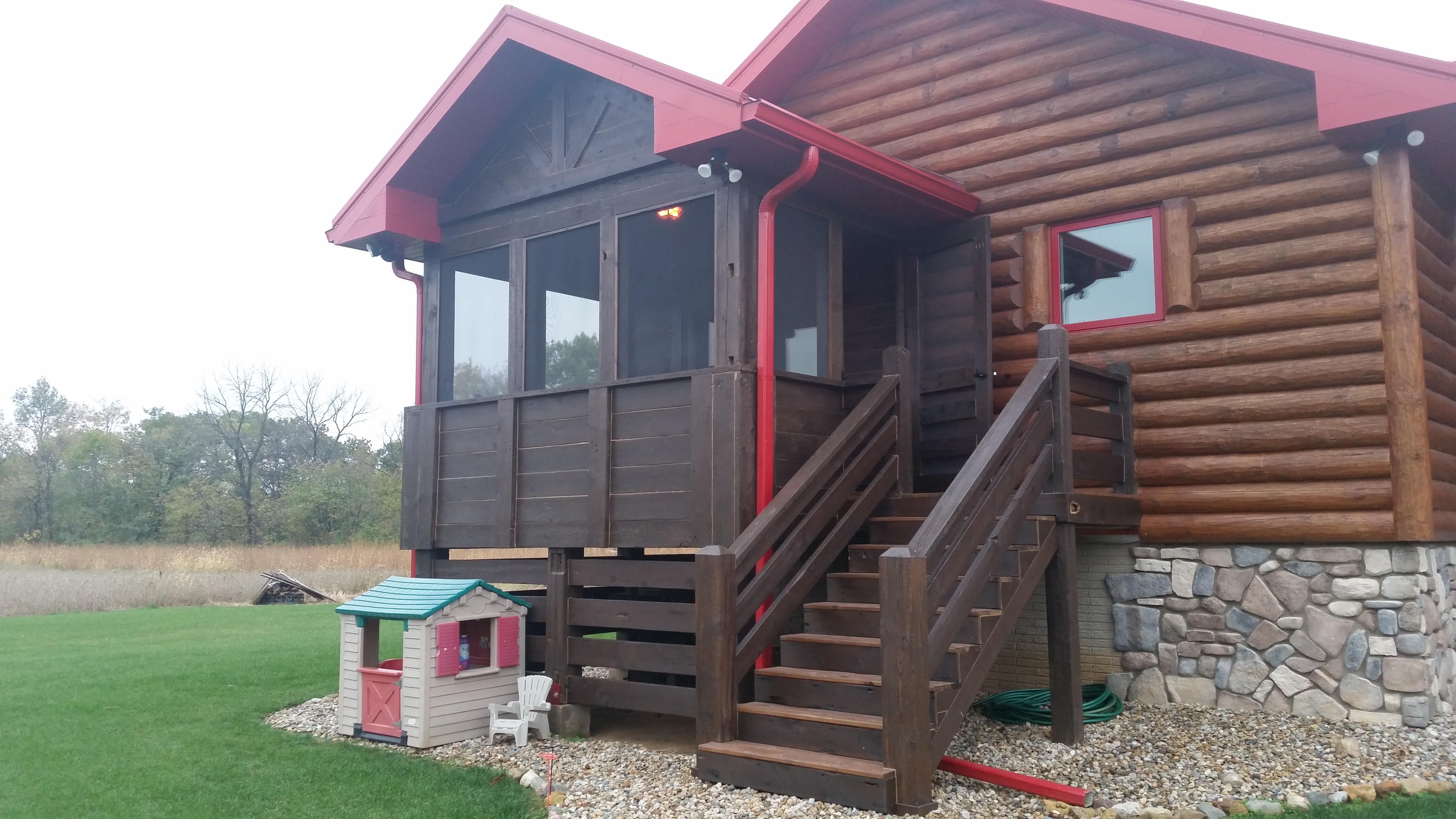 Log Home Cabin Reclaimed Barn Wood Porch